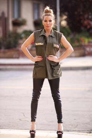 vintage army jacket jacket - Bebe shoes - leather H&M pants