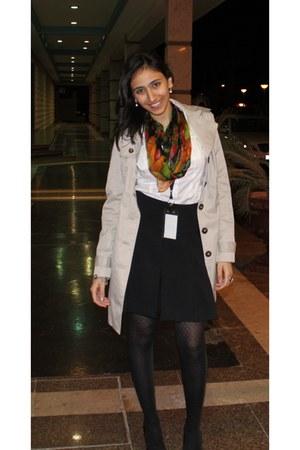 H&M coat - vintage scarf - H&M blouse - Zara skirt