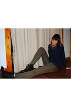 brown Forever21 boots - green H&M leggings - blue thrifted shirt - black Forever