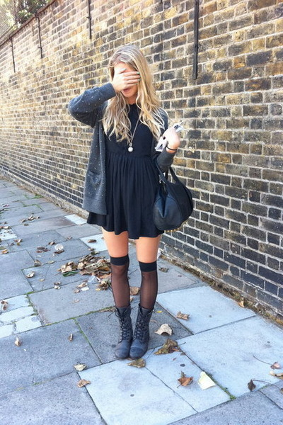 black dress dress - grey boots - knee highs stockings - grey cardigan