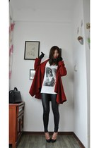 red cape romwe cape - Louis Vuitton gloves - SLY top