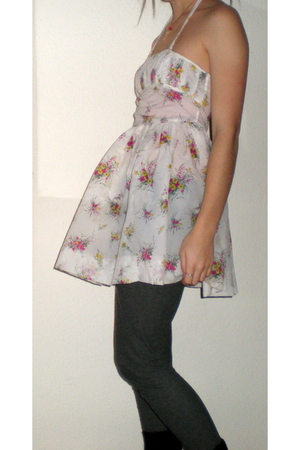 white homemade dress - gray Vila leggings