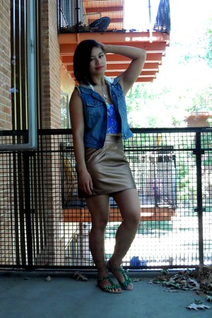 blue Feed x Target vest - purple crop top H&M x Beyonce top - bronze skirt