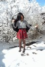 Black-leather-trippen-sandals-red-plaid-forever-21-skirt