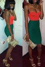 Carrot-orange-one-piece-american-apparel-shirt-green-forever21-skirt