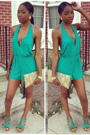 turquoise blue v cut out Charlotte Russe romper