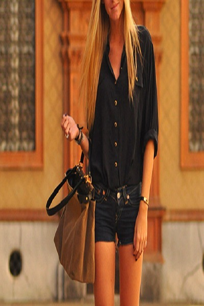 black shorts - light brown bag - black blouse - black bracelet