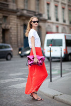 white t-shirt - magenta bag - red skirt - dark gray sandals
