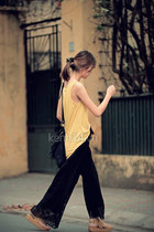 black lace pants - black bohemian bag - light yellow blouse - bronze sandals