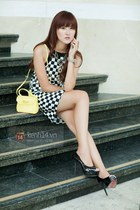 light yellow bag - black dress
