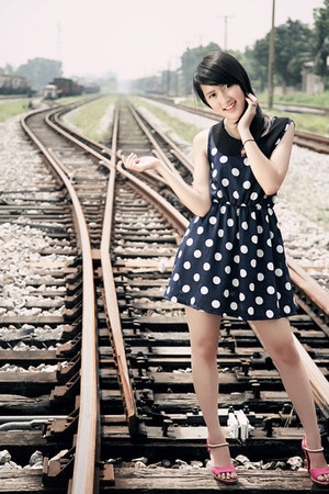 gray polka dots dress - bubble gum heels