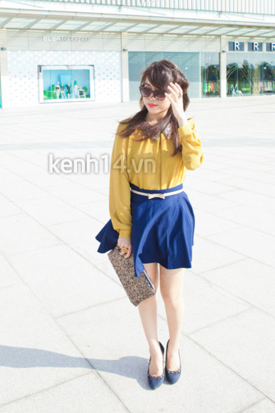 blue skirt - dark khaki bag - mustard blouse - blue flats