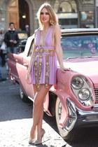 violet dress - heels