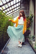 white shirt - gold cardigan - light blue skirt