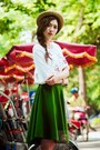Dark-green-skirt-white-blouse