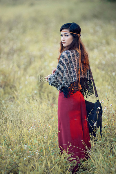 black boho bag - dark gray scarf - ruby red bohemian pants