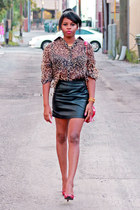 brown cotton on top - black faux leather Forever 21 skirt - red Nine West pumps