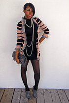 black turtleneck dress - light pink ruffles stripes Forever 21 cardigan