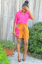Old Navy top - pleated belted Urban Outfitters shorts