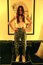 fur Jeffrey Campbell boots - silk Nookie pants - cotton Wildfox t-shirt