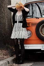 white lace Urban Outfitters dress - black H&M blazer - black tights