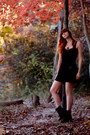 Dark-brown-timberland-boots-black-kova-and-t-dress-cyberpunk-necklace