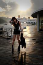 black mphosis blazer - black acne boots - black mphosis top