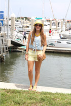 yellow Gap shorts - light yellow kohls shoes - beige JCrew hat