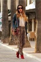 teal Zara jacket - mustard Primark pants