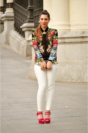 black Zara shirt - white Zara pants - hot pink new look heels