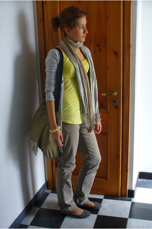 gray shoes - gray H&M jeans - gold shirt - silver Zara cardigan - beige Lancome
