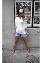 bardot hat - Hipster shirt - Valleygirl shorts - Zoe Wittner shoes