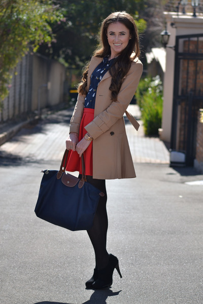 Forever New coat - Mr Price shoes - longchamp bag - Mr Price skirt