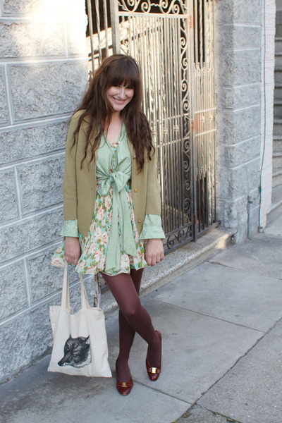 vintage Ferragamo shoes - Romwecom dress - thrifted coat - libris lunaria bag -
