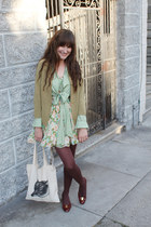 vintage Ferragamo shoes - Romwecom dress - thrifted coat - libris lunaria bag -