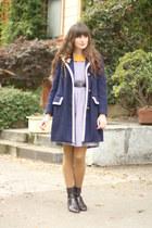 vintage boots - vintage dress - vintage coat