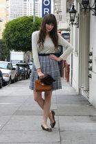 vintage sweater - vintage skirt - vintage purse - thrifted belt
