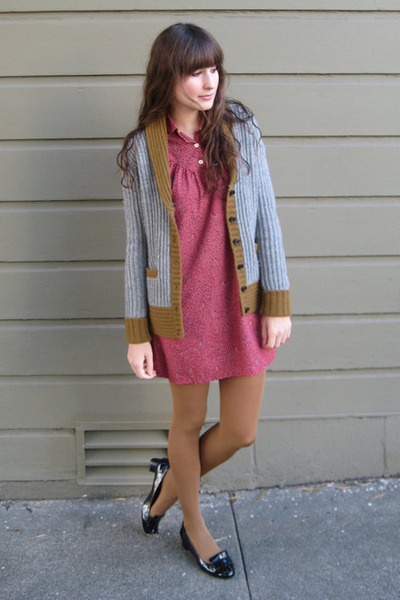 vintage dress - Zara shoes - J Crew cardigan