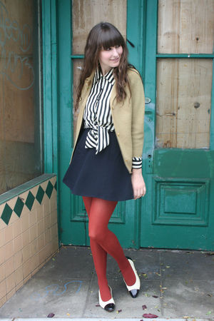 vintage cardigan - thrifted blouse - thrifted skirt - American Apparel tights -