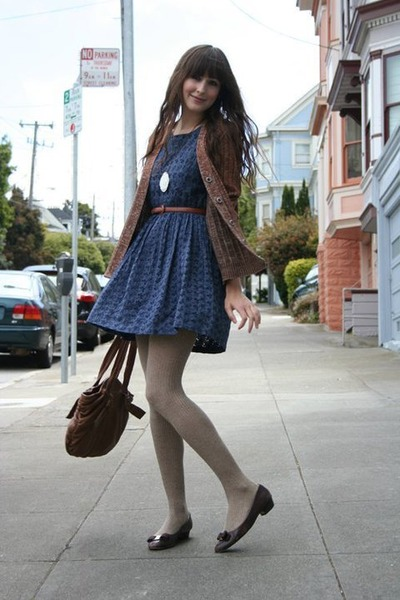 vintage cardigan - hand-me-downs shoes - vintage dress - Anthropologie bag