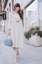 vintage dress - thrifted coat - vintage bag - thrifted belt