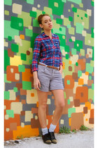 green Gilly Hicks shirt - heather gray Urban Outfitters shorts - brown belt