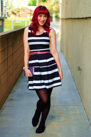 black striped love couture dress - black Topshop tights