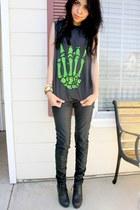 black pleather H&M pants - black UNIF shirt - black lace-up Forever 21 wedges