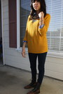 Mustard-knit-sweater-blue-plaid-shirt-navy-silence-noise-jeans-dark-brown