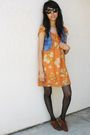 Blue-thrifted-vest-orange-forever-21-dress-black-target-stockings-brown-pe