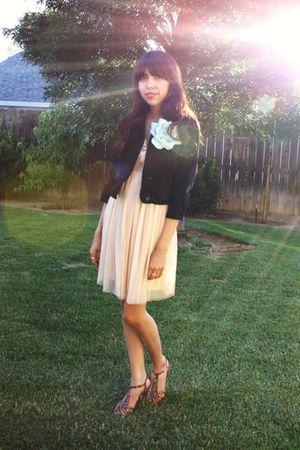 black BDG jacket - beige Kimchi&Blue dress - green accessories - brown Betsey Jo