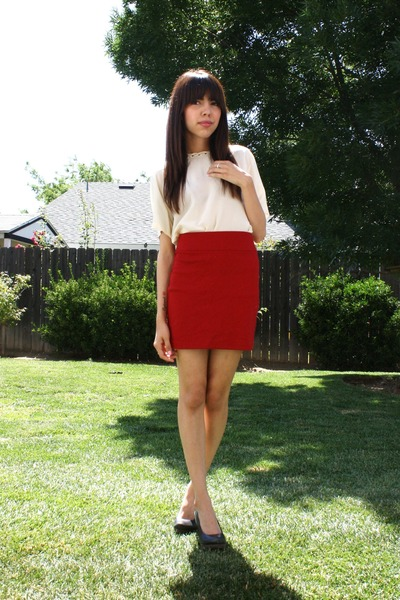 white thrifted blouse - red BDG skirt - black seychelles shoes