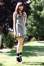 Green-uo-dress-red-thrifted-belt-black-target-socks-beige-bcbgirls-shoes
