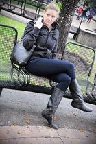 black TNA coat - blue 34 Heritage jeans - black coach purse - black thrifted boo